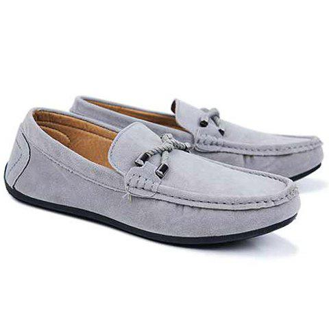 Unique Concise Style Suede and Flat Design Men's Loafers - 42 GRAY Mobile