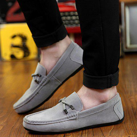 Shop Concise Style Suede and Flat Design Men's Loafers - 42 GRAY Mobile
