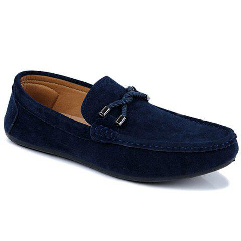 Unique Concise Style Suede and Flat Design Men's Loafers BLUE 44