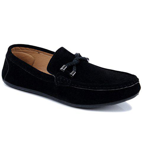 Concise Style Suede and Flat Design Men's Loafers - Black - 44
