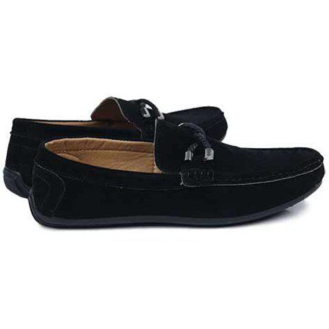 Shop Concise Style Suede and Flat Design Men's Loafers - 44 BLACK Mobile