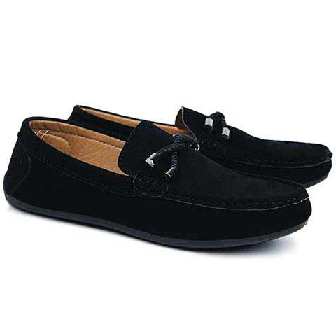 Store Concise Style Suede and Flat Design Men's Loafers - 44 BLACK Mobile
