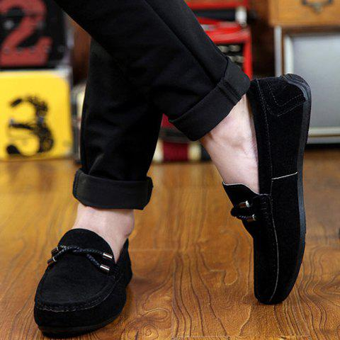 Sale Concise Style Suede and Flat Design Men's Loafers - 44 BLACK Mobile