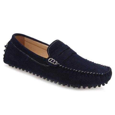 Affordable Casual Stitching and Round Toe Design Men's Suede Loafers