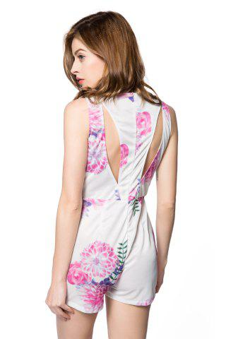 Discount Sexy V-Neck Sleeveless Floral Print Hollow Out Women's Romper - S WHITE Mobile