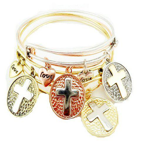 Sale ONE PIECE Retro Heart Cross Pattern Bracelet
