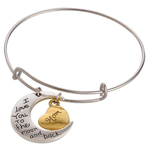 Outfit Engraved Letter Heart Moon Charm Bracelet SILVER