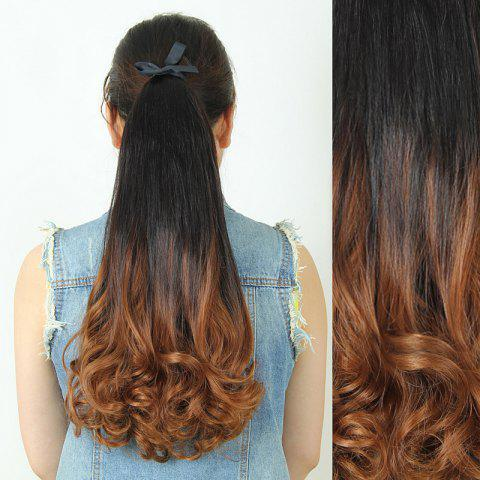 Store Trendy Fluffy Long Wavy Black Ombre Charming Heat Resistant Synthetic Ponytail For Women