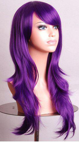 Chic Fashion Side Bang 70CM Charming Long Big Wavy Heat Resistant Synthetic Cosplay Wig For Women - PURPLE  Mobile