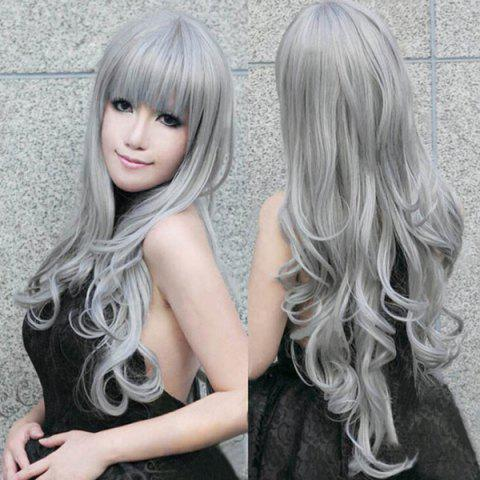 Discount Fashion Fluffy Full Bang 80CM Harajuku Long Wavy Heat Resistant Synthetic Cosplay Wig For Women SILVER GRAY