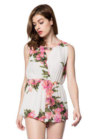 Fancy Stylish Scoop Collar Sleeveless Floral Print Hollow Out Women's Romper
