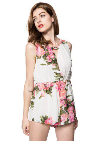 Trendy Stylish Scoop Collar Sleeveless Floral Print Hollow Out Women's Romper -   Mobile