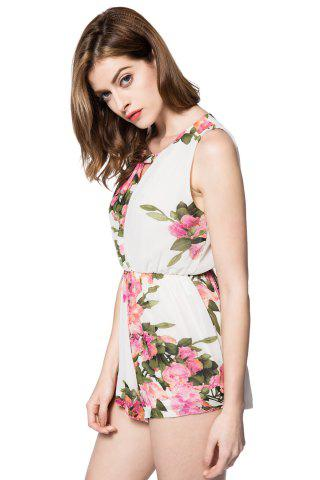 Buy Stylish Scoop Collar Sleeveless Floral Print Hollow Out Women's Romper -   Mobile