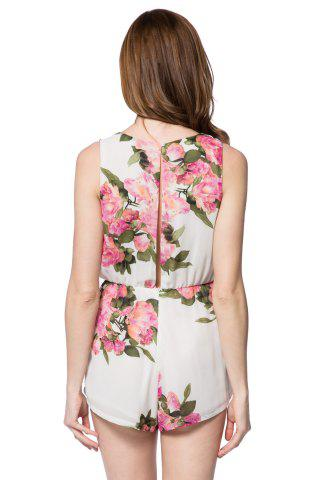 Hot Stylish Scoop Collar Sleeveless Floral Print Hollow Out Women's Romper -   Mobile