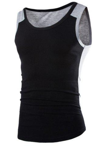 Fashion Fashion Round Neck Slimming Color Block Splicing Sleeveless Polyester Tank Top For Men BLACK XL