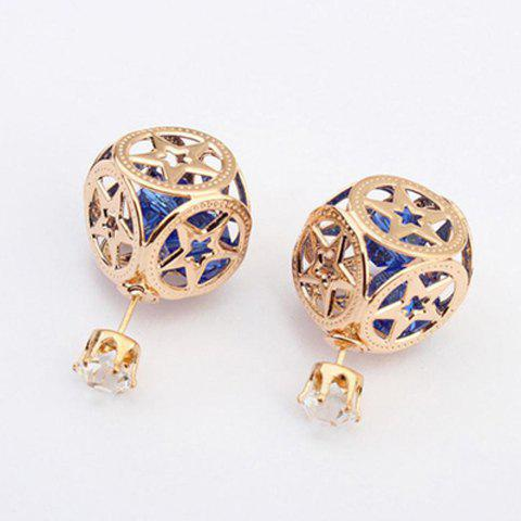 Pair of Stylish Rhinestone Hollow Out Star Square Earrings For Women - Color Assorted - One Size