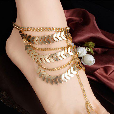 Store Stylish Leaf Tassel Layered Anklet GOLDEN
