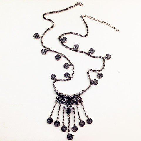 New Retro Fringed Coin Shape Necklace SILVER GRAY