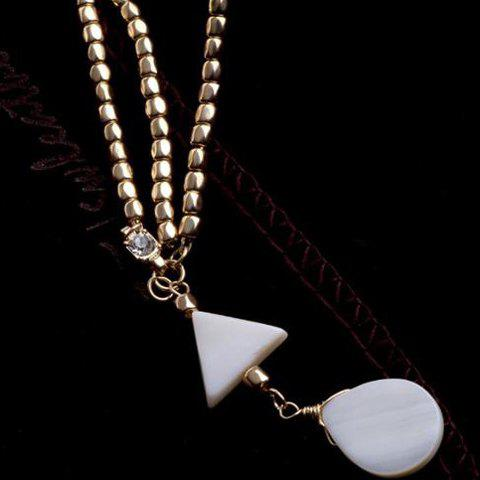 Online Trendy Bohemian Style Triangle and Waterdrop Shape Hairband For Women - WHITE AND GOLDEN  Mobile