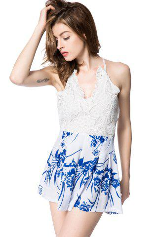 Fashion Stylish Plunging Neck Sleeveless Floral Print Backless Women's Romper - M WHITE Mobile