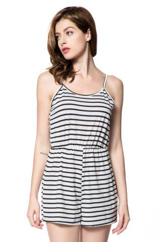 Cheap Trendy Spaghetti Strap Striped Backless Women's Romper