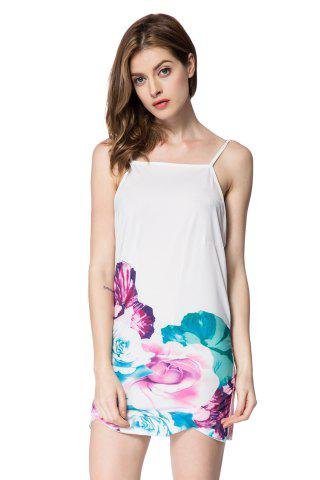 Fancy Spaghetti Strap Backless Floral Print Summer Dress WHITE S