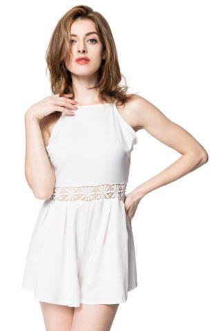 Hot Sexy Spaghetti Strap Backless Hollow Out Solid Color Women's Romper WHITE S