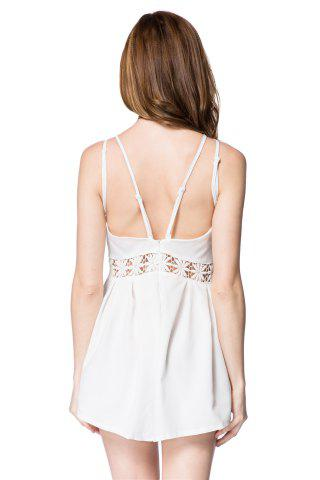 Sale Sexy Spaghetti Strap Backless Hollow Out Solid Color Women's Romper - S WHITE Mobile