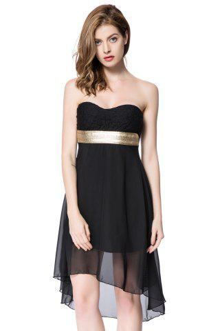 Strapless High Low Cocktail Night Out Chiffon Dress - Black - M