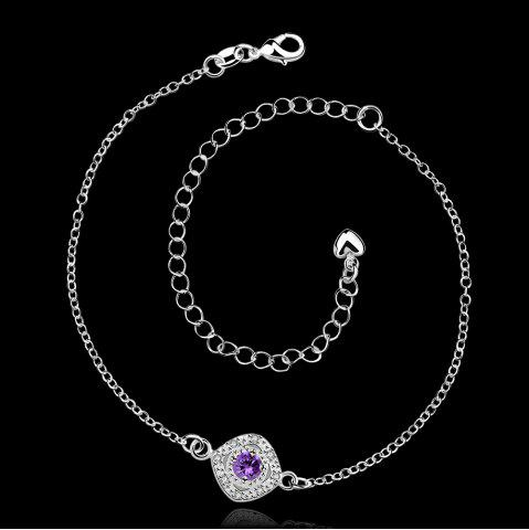 Discount Stylish Rhinestone Spliced Printed Anklet - PURPLE  Mobile