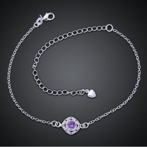 New Stylish Rhinestone Spliced Printed Anklet - PURPLE  Mobile