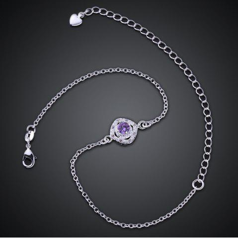 Outfit Stylish Rhinestone Spliced Printed Anklet - PURPLE  Mobile