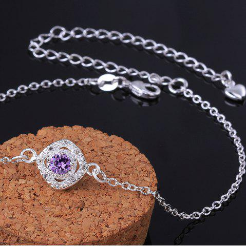 Fashion Stylish Rhinestone Spliced Printed Anklet - PURPLE  Mobile