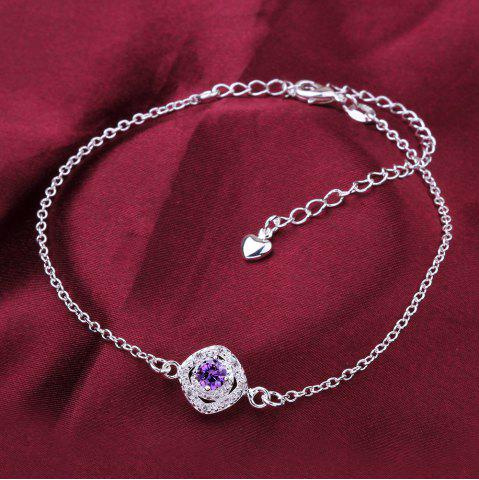 Hot Stylish Rhinestone Spliced Printed Anklet - PURPLE  Mobile
