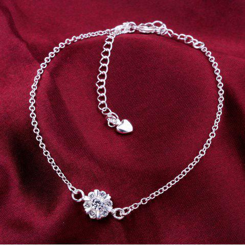 Cheap Classic Round Rhinestone Hollow Out Solid Color Fancy Anklets - WHITE  Mobile