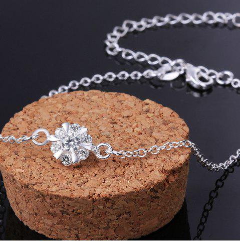 New Classic Round Rhinestone Hollow Out Solid Color Fancy Anklets - WHITE  Mobile