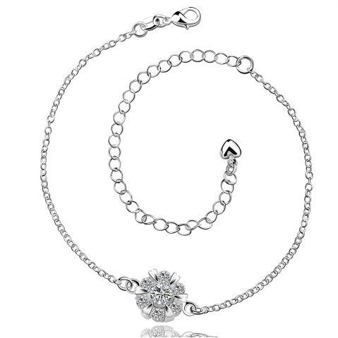 Shop Classic Round Rhinestone Hollow Out Solid Color Fancy Anklets WHITE