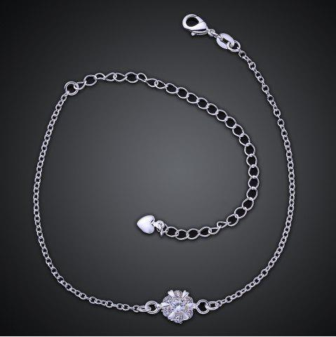 Buy Classic Round Rhinestone Hollow Out Solid Color Fancy Anklets - WHITE  Mobile