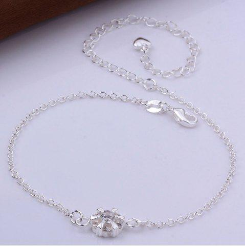 Trendy Classic Round Rhinestone Hollow Out Solid Color Fancy Anklets - WHITE  Mobile