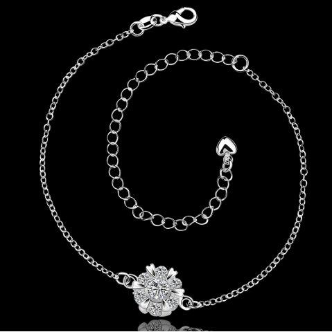 Hot Classic Round Rhinestone Hollow Out Solid Color Fancy Anklets - WHITE  Mobile