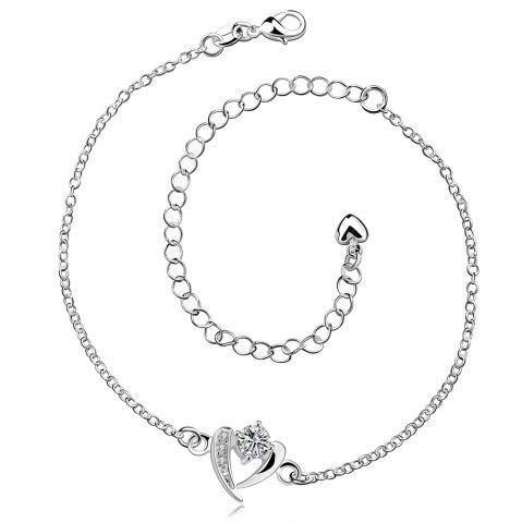 Hot Rhinestone Hollow Out Heart Anklet