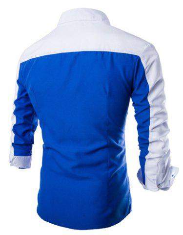 Discount Fashion Shirt Collar Fitted Three Color Splicing Long Sleeve Polyester Shirt For Men - XL BLUE Mobile