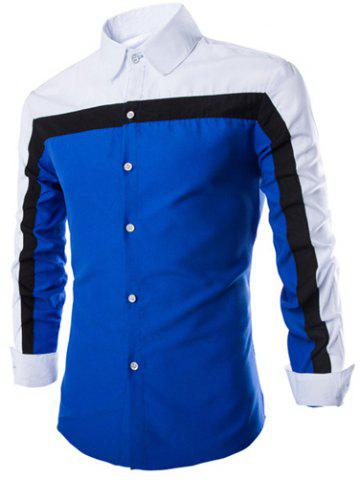 Chic Fashion Shirt Collar Fitted Three Color Splicing Long Sleeve Polyester Shirt For Men