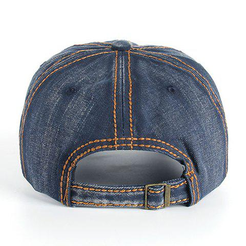 Fancy Stylish Sewing Thread and Retro Letters Shape Embellished Visor For Men - DEEP BLUE  Mobile