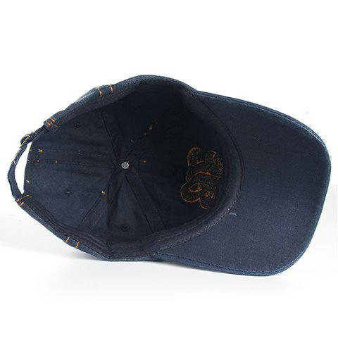 Trendy Stylish Sewing Thread and Retro Letters Shape Embellished Visor For Men - DEEP BLUE  Mobile