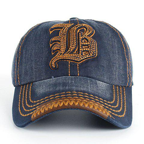 Cheap Stylish Sewing Thread and Retro Letters Shape Embellished Visor For Men - DEEP BLUE  Mobile