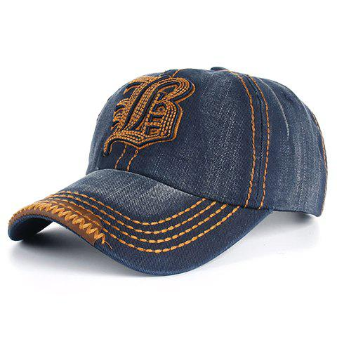 Fashion Stylish Sewing Thread and Retro Letters Shape Embellished Visor For Men DEEP BLUE