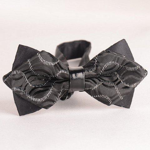 Latest Stylish Wavy Stripe Pattern Color Block Double-Deck Bow Tie For Men