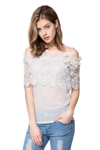 Buy Stylish Slash Collar Short Sleeve Solid Color Spliced Women's Blouse WHITE S