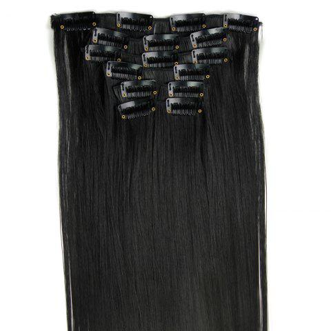 Hot Long Straight Clip-In Heat Resistant Synthetic Hair Extension Suit For Women - 1B#  Mobile